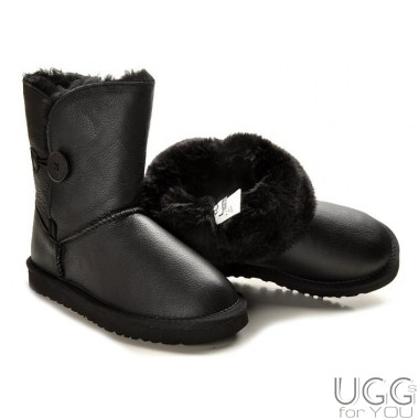 UGG Australia Kids Bailey Button Leather Black